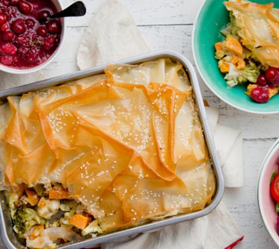Sweet potato filo pie