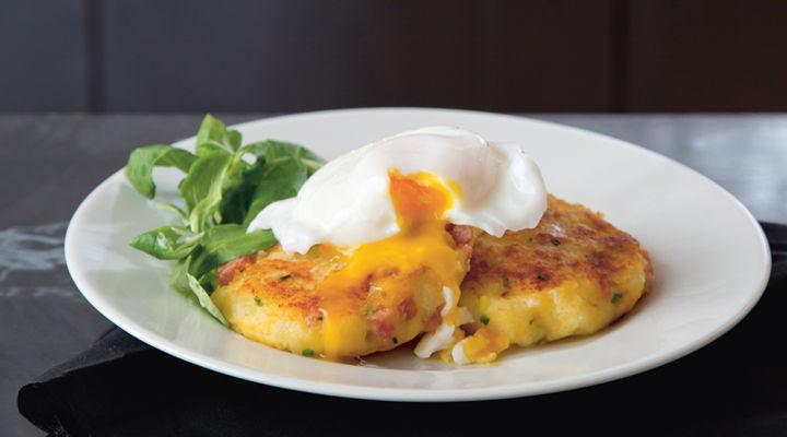 potato cakes and poached egg
